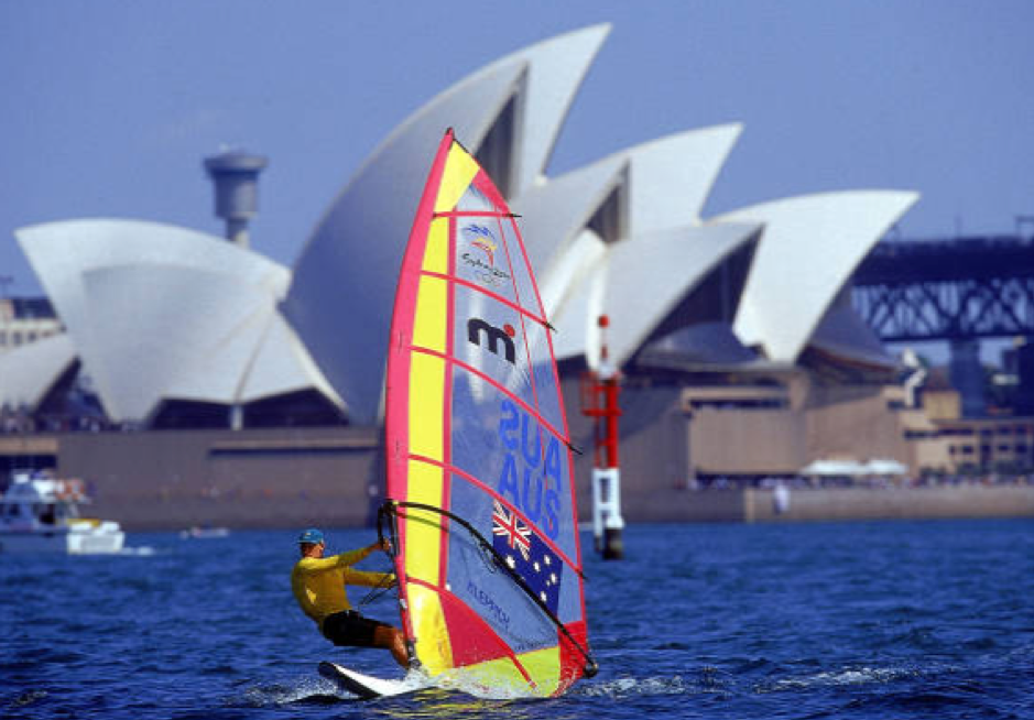 Lars sailing Mistral one design ifront of Sydney Opera House